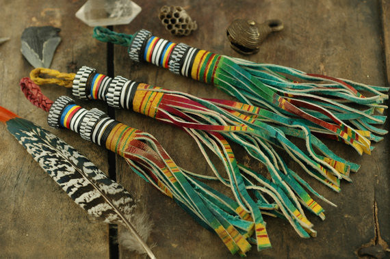 Ombre Multi-Colored African Tuareg Goat Leather Tassel