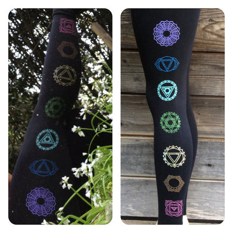 7 Chakras Yoga Legging, Black/Multicolored