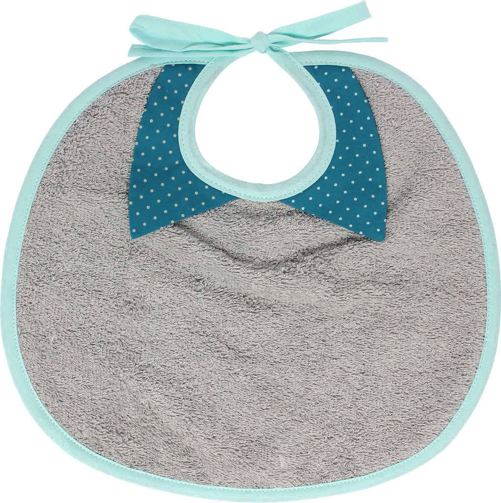 Nanana French Collared Bib - Blue w/ Dots
