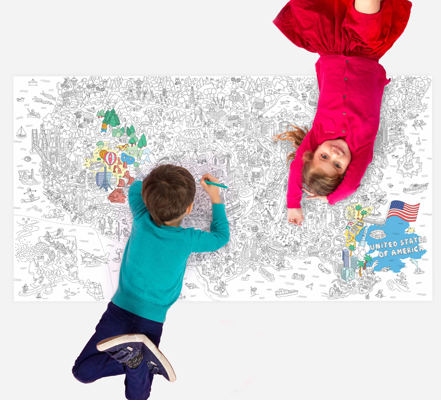 OMY Design & Play Giant Coloring Page - USA
