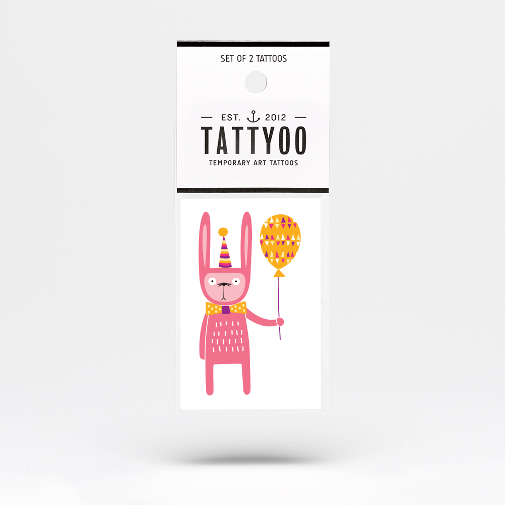 Tattyoo Temporary Tattoo - Party Bunny