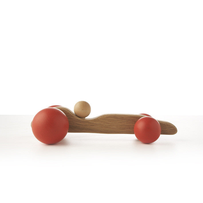 Hop & Peck Handmade Wooden Race Car - Red