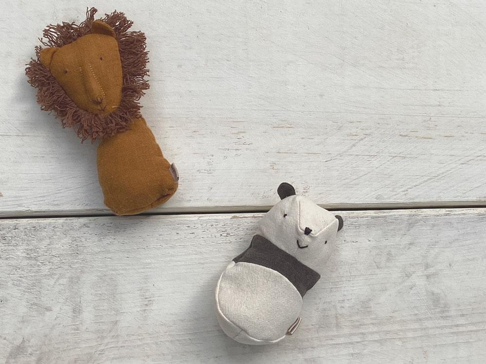 Maileg Panda and Lion Rattle