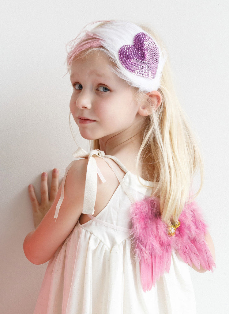 Heart Sequin & Feather Headband