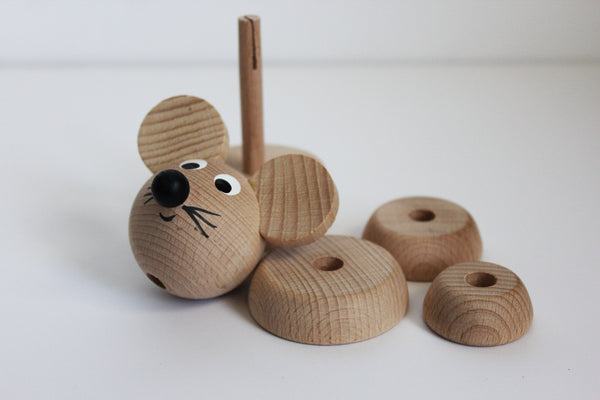 Natural Wood Animal Stacking Toys