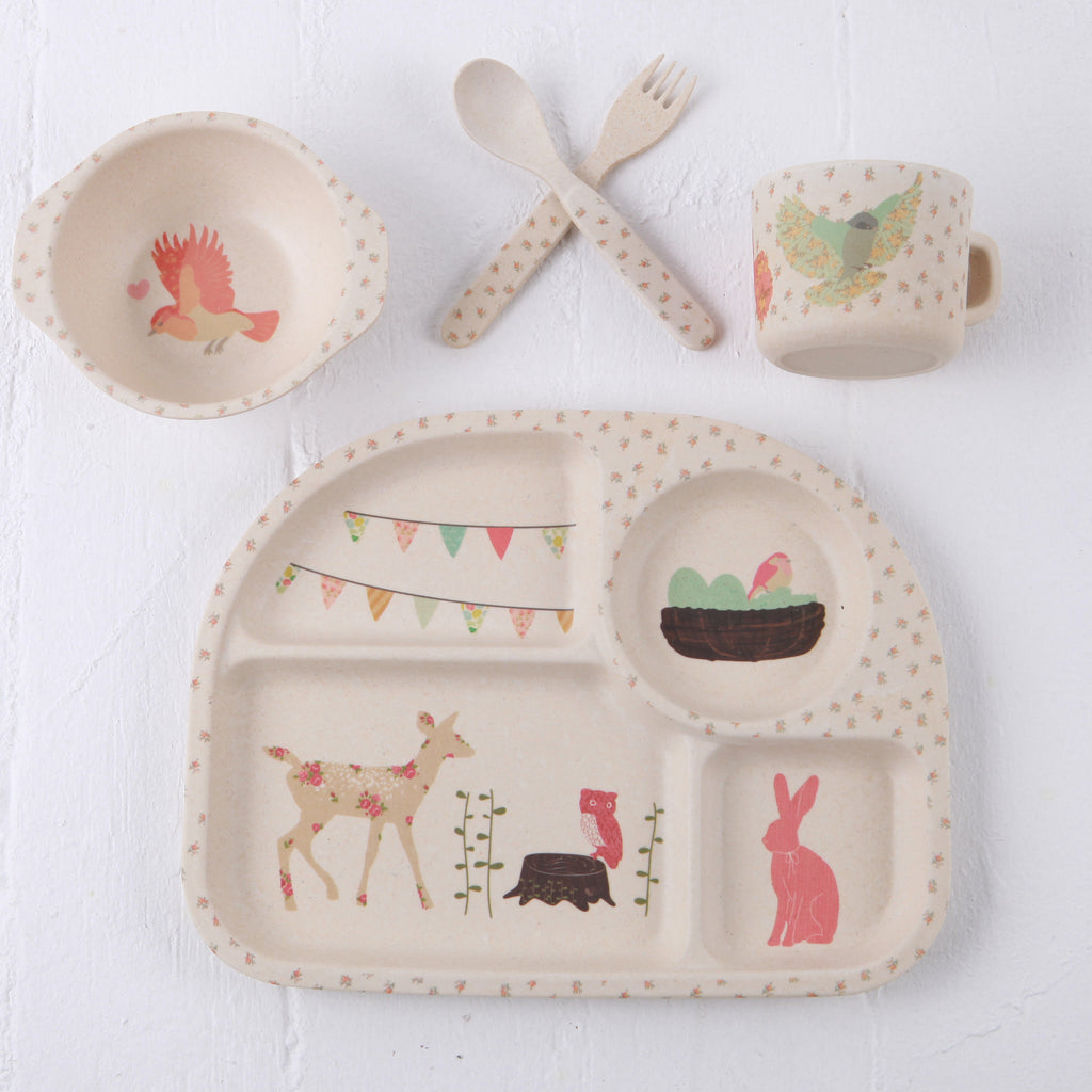 Woodland Tea Party Bamboo Dinnerware by LoveMae at www.perfectlysmitten.com