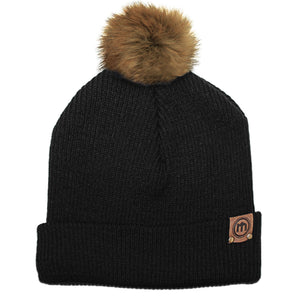 Faux Fur Pom Black Adjustable Cuffed Beanie