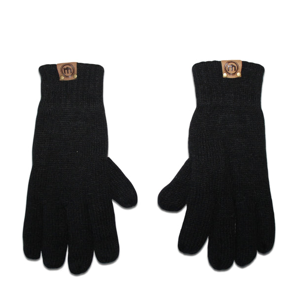 Black Insulated Knit Gloves