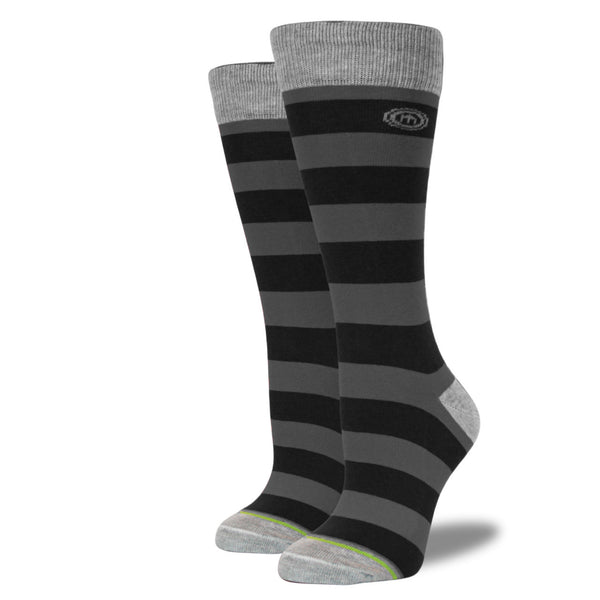 The BlackOut womens black striped socks