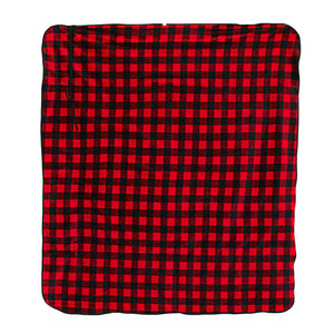 Black And Red Plaid Fleece Traveler Blanket