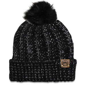 Faux Fur Pom Black & Sparkle Cable Knit Chunky Beanie