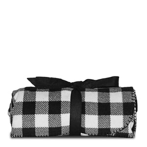 Black And White Plaid Fleece Blanket