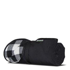Black And White Plaid Fleece Traveler Blanket