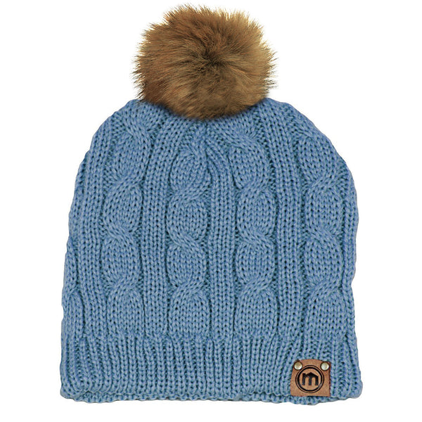 Faux Fur Pom Washed Denim Cable Knit Beanie