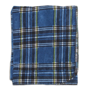 Navy Plaid Fleece Blanket