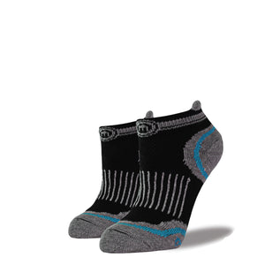 Women's Black and Blue Low Cut Performance Socks