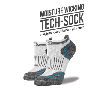 Women's White & Blue Low Cut Performance Socks