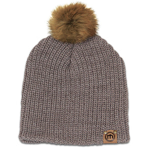 Faux Fur Pom Brown Heather Lumberjack Knit Beanie