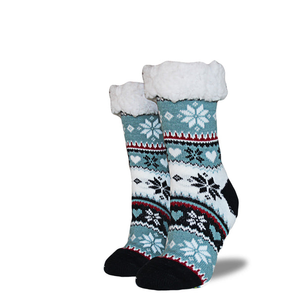 Women's Sherpa Socks - Cream | Blue | Black