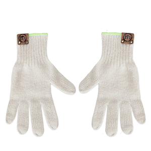 Cream wool blend gloves