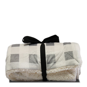 Cream & Gray Sherpa Blanket