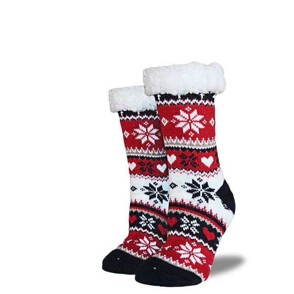 Women's Sherpa Socks - Cream | Red | Navy