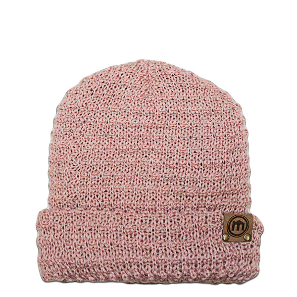 Dusty Pink Knit Cuffed Beanie