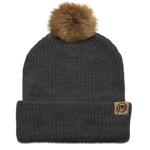Faux Fur Pom Graphite Adjustable Cuffed Beanie