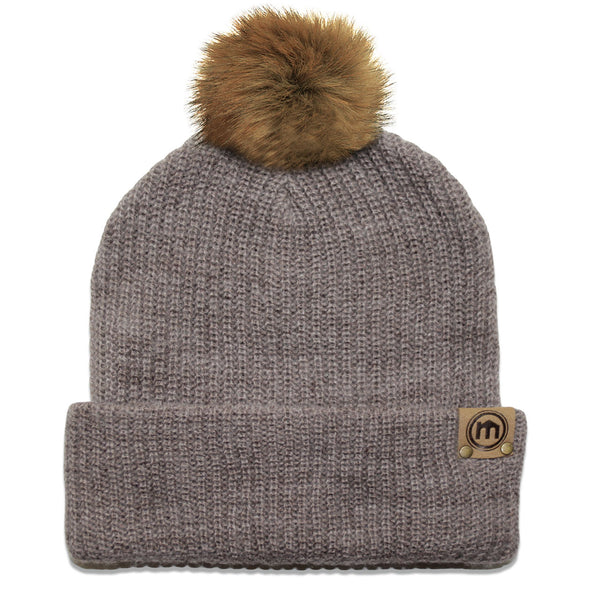 Faux Fur Pom Brown Heather Adjustable Cuffed Beanie