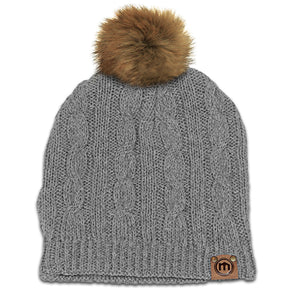Faux Fur Pom Heather Gray Cable Knit Beanie