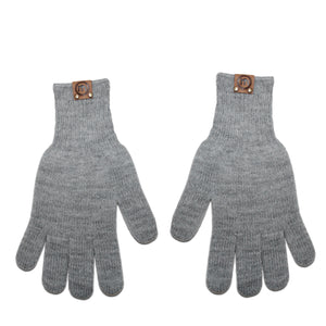 Heather Gray Acrylic Knit Gloves
