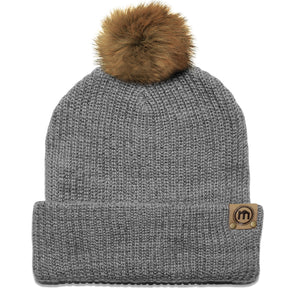 Faux Fur Pom Heather Gray Adjustable Cuffed Beanie