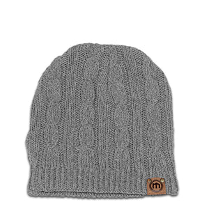 Heather Gray Cable Knit Beanie
