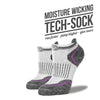Women's White & Purple Low Cut Performance Socks