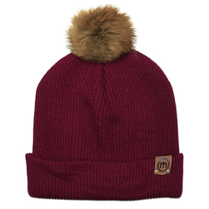 Faux Fur Pom Maroon Adjustable Cuffed Beanie