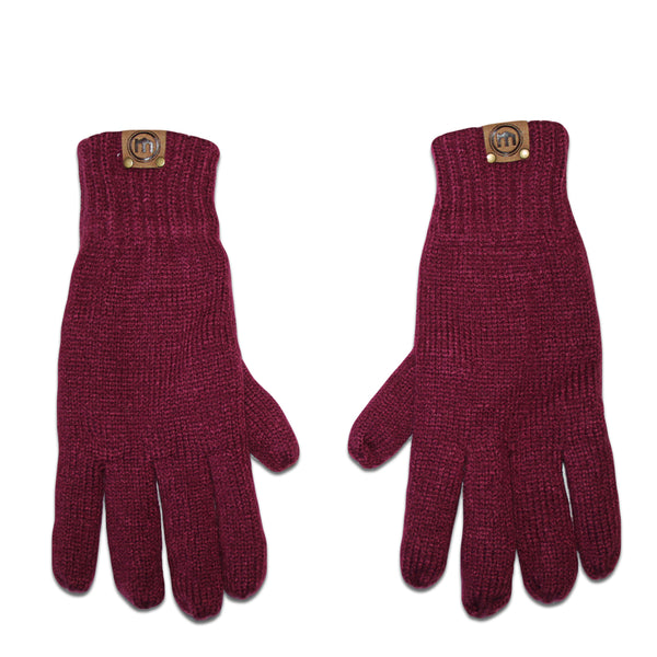 Maroon Insulated Knit Gloves