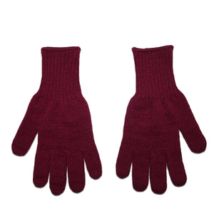 Maroon Acrylic Knit Gloves