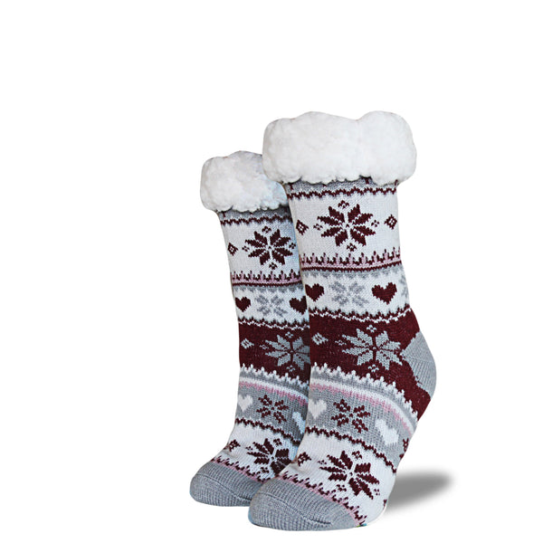 Women's Sherpa Socks - Maroon | Gray | Cream