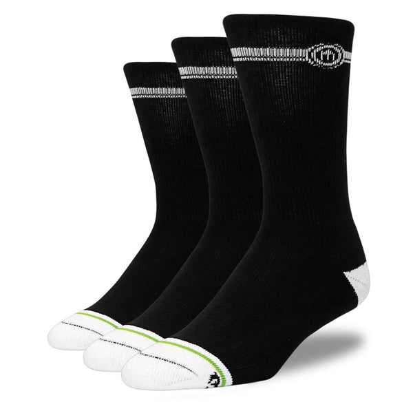 Men's Black Crew Cut Socks 3-Pack