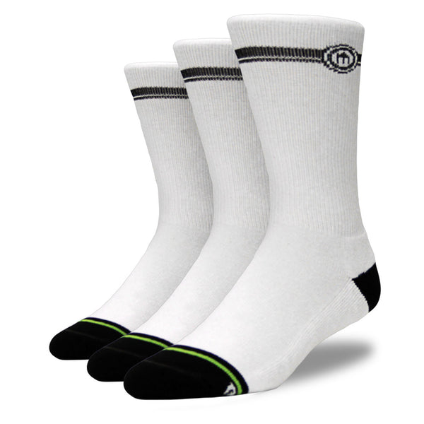 Men's White Crew Cut Socks 3-Pack