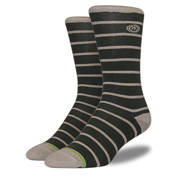 Men's Army Green Striped Socks