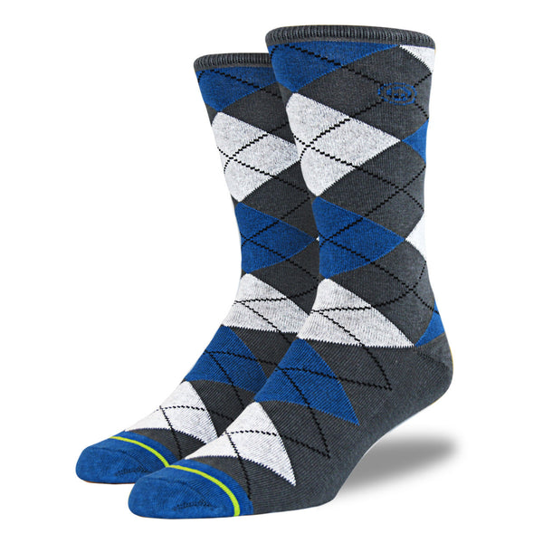 Men's Blue, Gray and White Argyle Socks