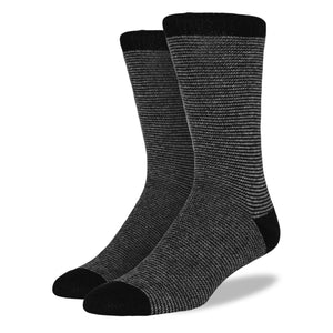 Men's Wool Blend Socks: Black Striped