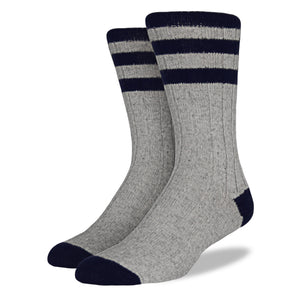 Men's Wool Blend Socks: Gray & Navy Striped
