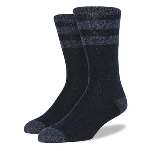 Men's Wool Blend Socks: Navy & Denim Striped