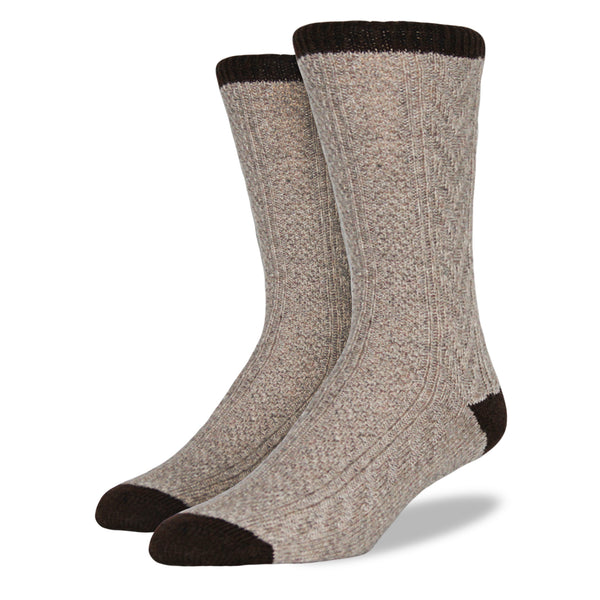 Men's Wool Blend Socks: Sand Cable Knit