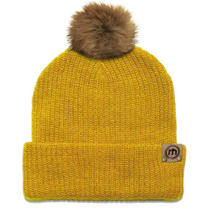 Faux Fur Pom Mustard Yellow Adjustable Cuffed Beanie