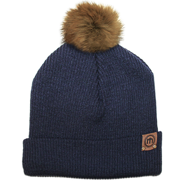 Faux Fur Pom Navy Adjustable Cuffed Beanie
