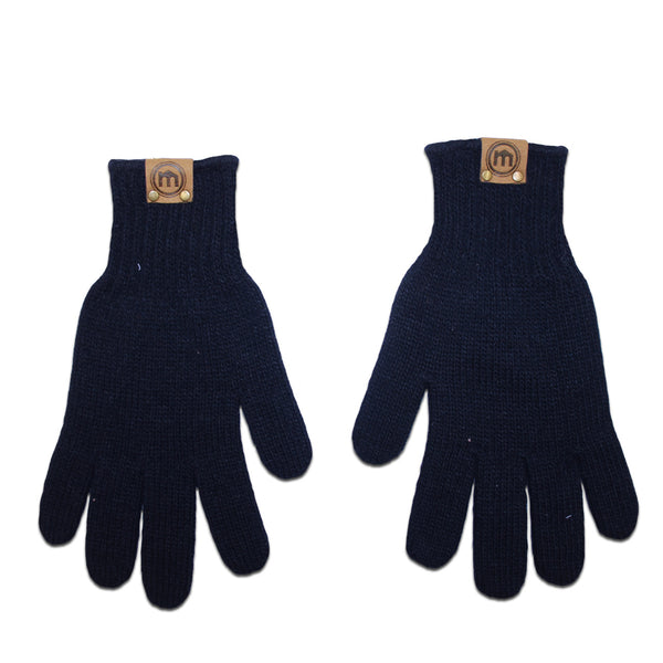 Navy Acrylic Knit Gloves