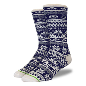 Men's Navy Snowflake Socks